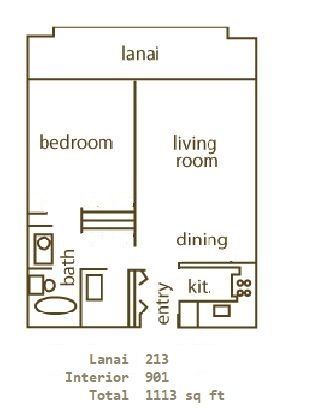 Floor Plan for Whaler 956- One Bedroom, One Bath Ocean View Condominium