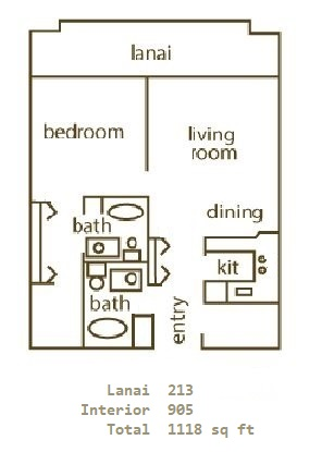 Floor Plan for Whaler 101 TIO - Direct Ocean Front One Bedroom, Two Bath Condominium