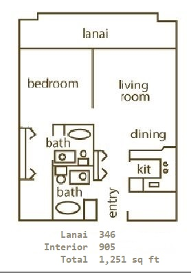 Floor Plan for Whaler 1174 - One Bedroom, Two Bath Ocean View Condominium