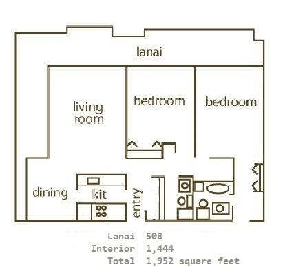 Floor Plan for Whaler 923 - 2 Bedroom, 2 Bath Ocean View Condominium