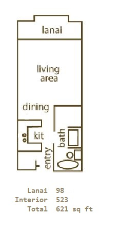 Floor Plan for Whaler 1118 - Studio Ocean View Condominium