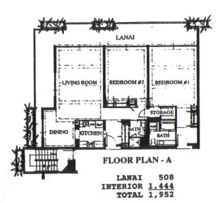Floor Plan for TIO 302 - Two Bedroom, Two Bath Ocean Front