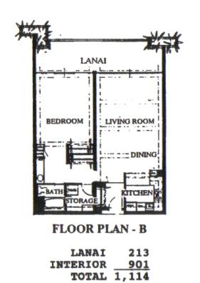 Floor Plan for Whaler 259 - One Bedroom, One Bath Partial Ocean View Condominium