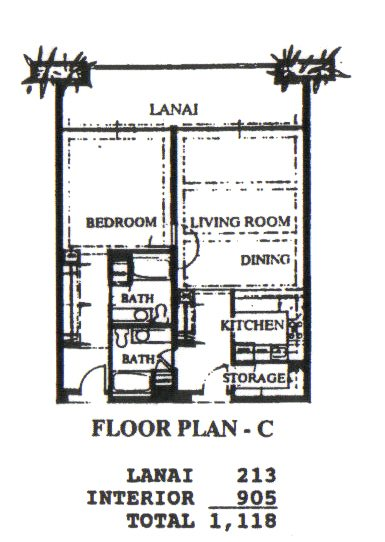 Floor Plan for Whaler 411- Deluxe One Bedroom Two Bathroom Condominium
