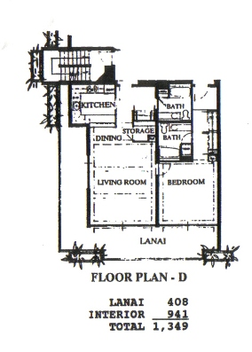 Floor Plan for TIO 101 - One Bedroom, Two Bath, Ground Floor, Ocean Front