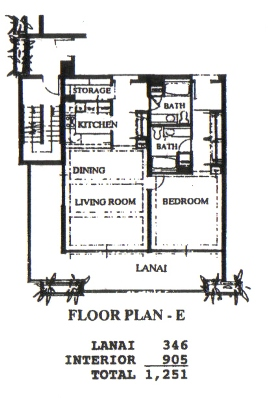Floor Plan for Whaler 1074 - One Bedroom, Two Bath Ocean View Condominium